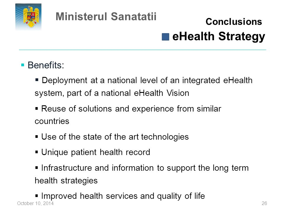 eHealth Strategy Ministerul Sanatatii Conclusions Benefits: