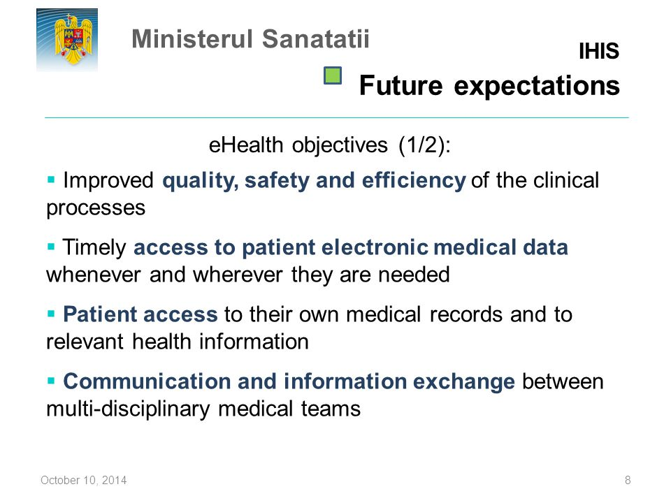 eHealth objectives (1/2):