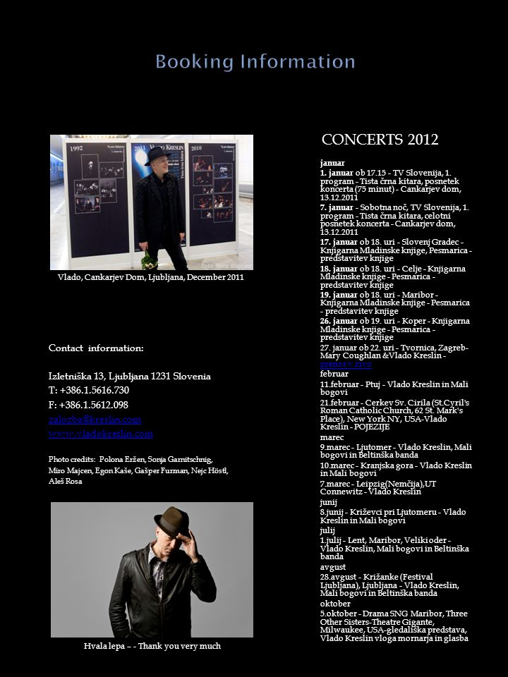 Concerts 2012 Booking Information
