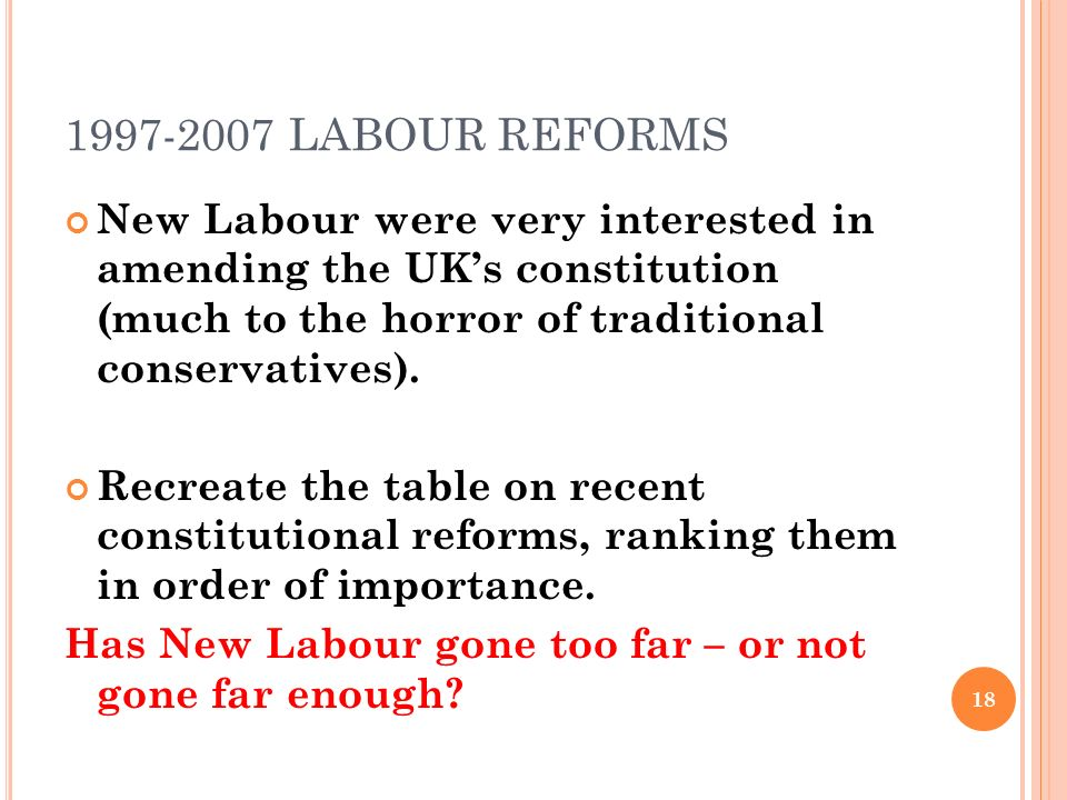 1997-2007 LABOUR REFORMS New Labour were very interested in amending the UK's constitution (much to the horror of traditional conservatives).