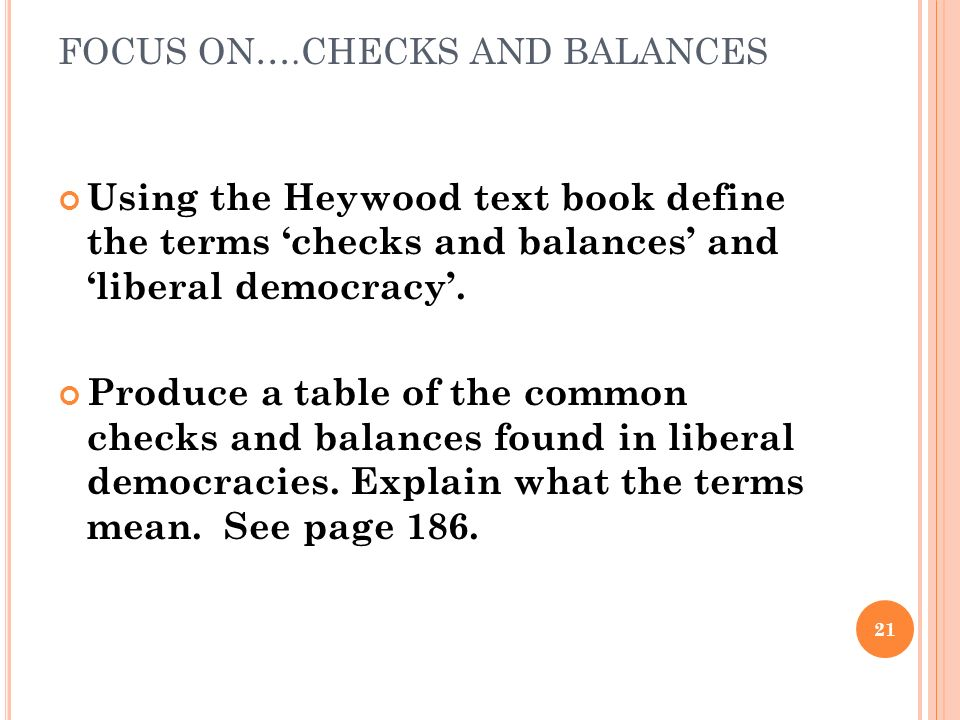 FOCUS ON….CHECKS AND BALANCES