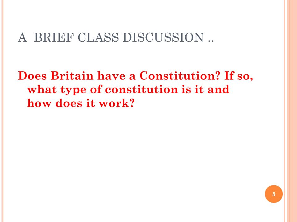 A BRIEF CLASS DISCUSSION ..