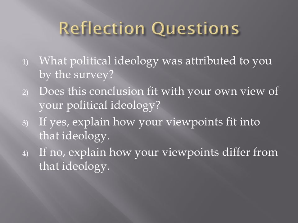 Reflection Questions What political ideology was attributed to you by the survey