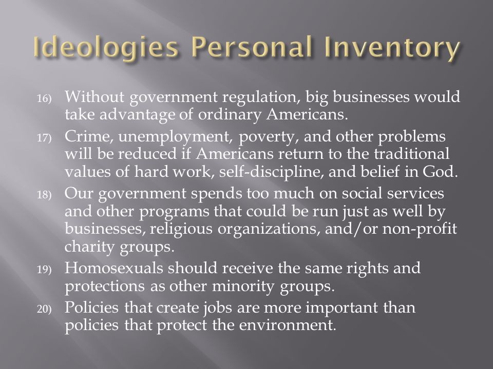 Ideologies Personal Inventory