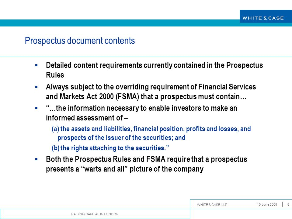 Prospectus document contents
