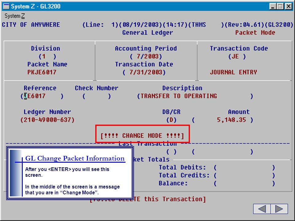 GL Change Packet Information