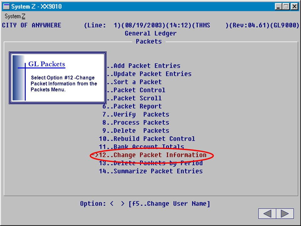 GL Packets Select Option #12 -Change Packet Information from the Packets Menu.