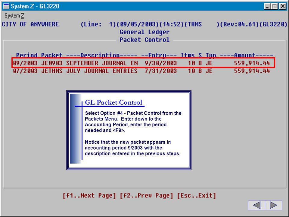 GL Packet Control Select Option #4 - Packet Control from the Packets Menu. Enter down to the Accounting Period, enter the period needed and <F9>.