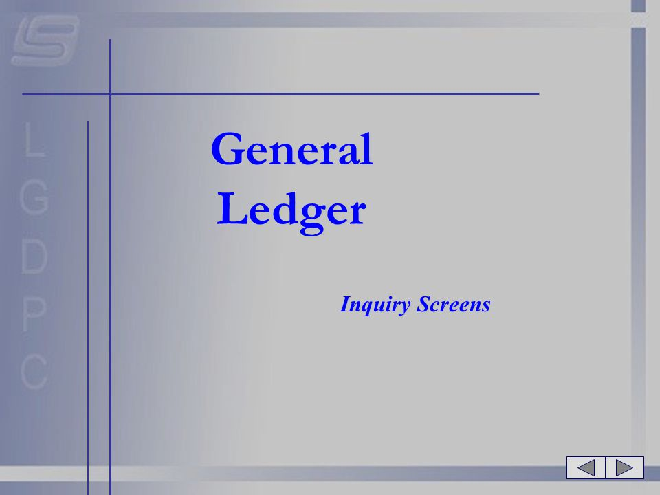 General Ledger Inquiry Screens