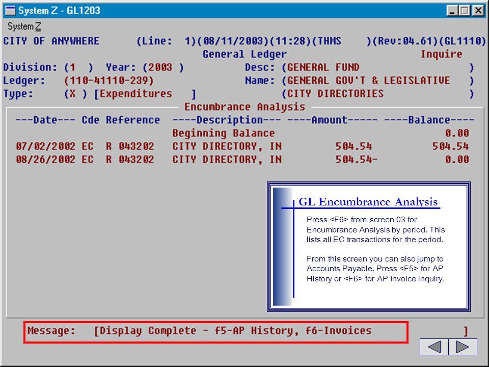 GL Encumbrance Analysis