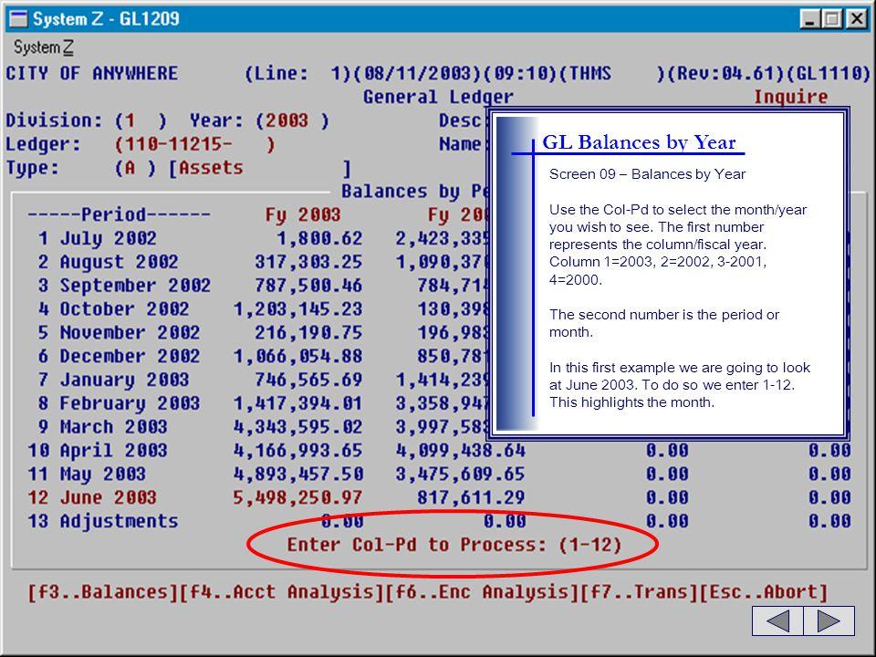 GL Balances by Year Screen 09 – Balances by Year