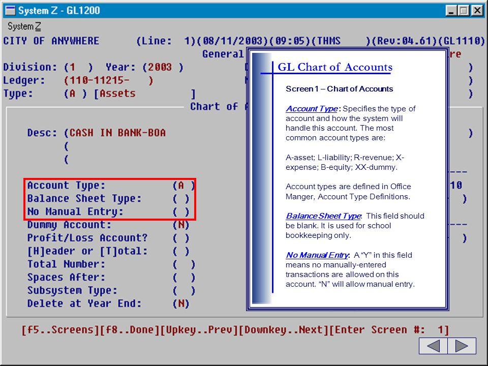 GL Chart of Accounts Screen 1 – Chart of Accounts