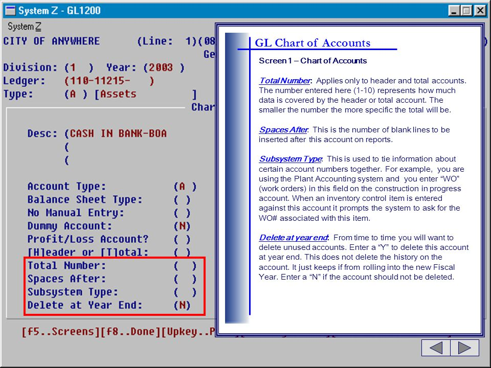 GL Chart of Accounts Screen 1 – Chart of Accounts