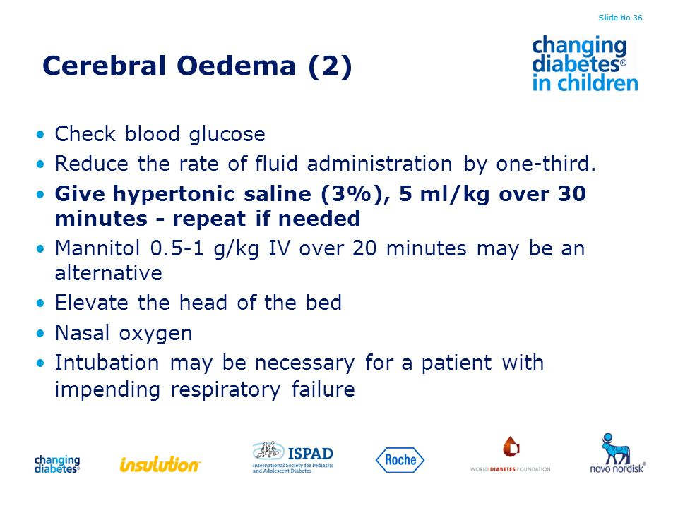 Cerebral Oedema (2) Check blood glucose