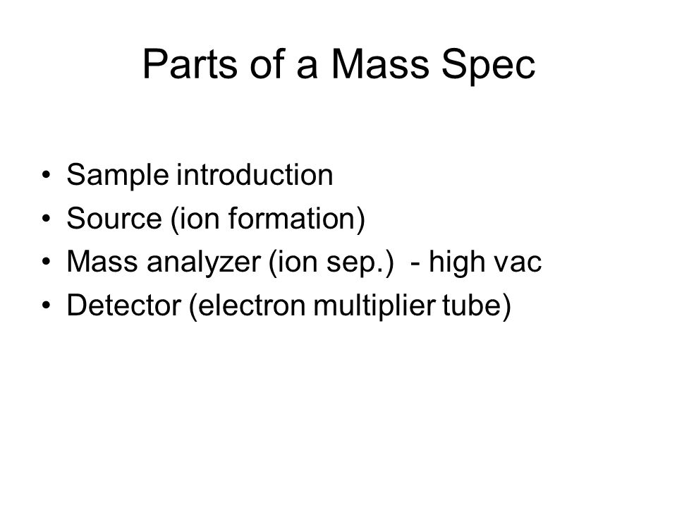 Parts of a Mass Spec Sample introduction Source (ion formation)