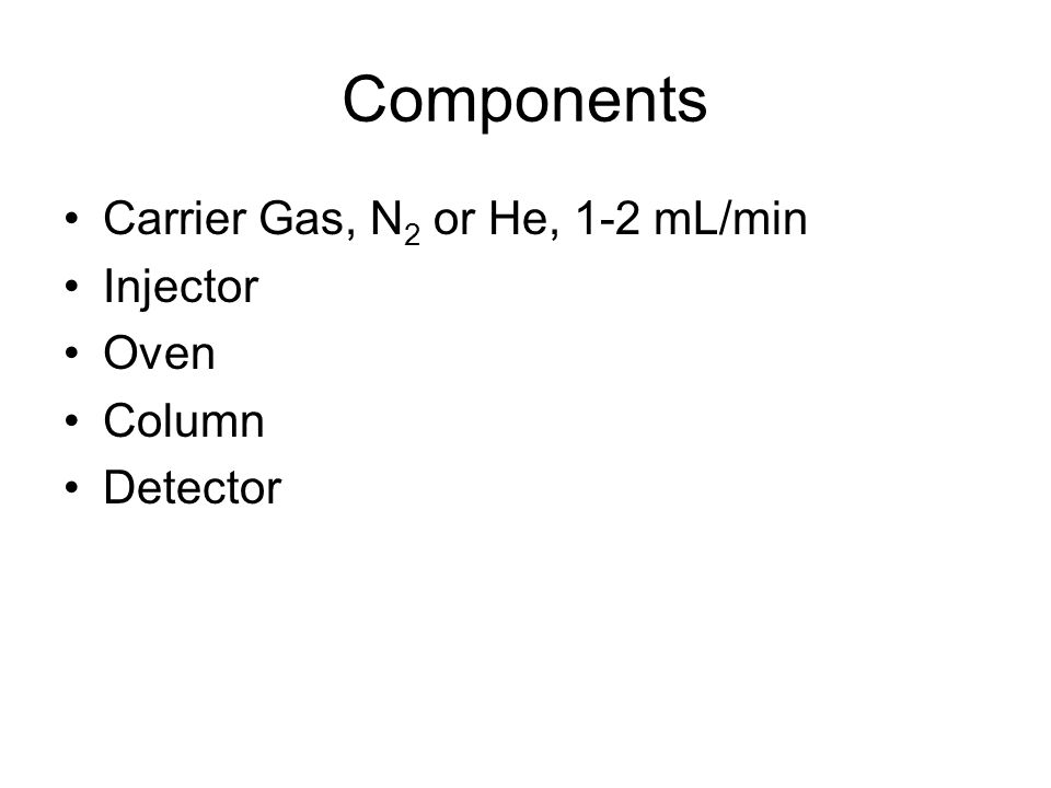 Components Carrier Gas, N2 or He, 1-2 mL/min Injector Oven Column