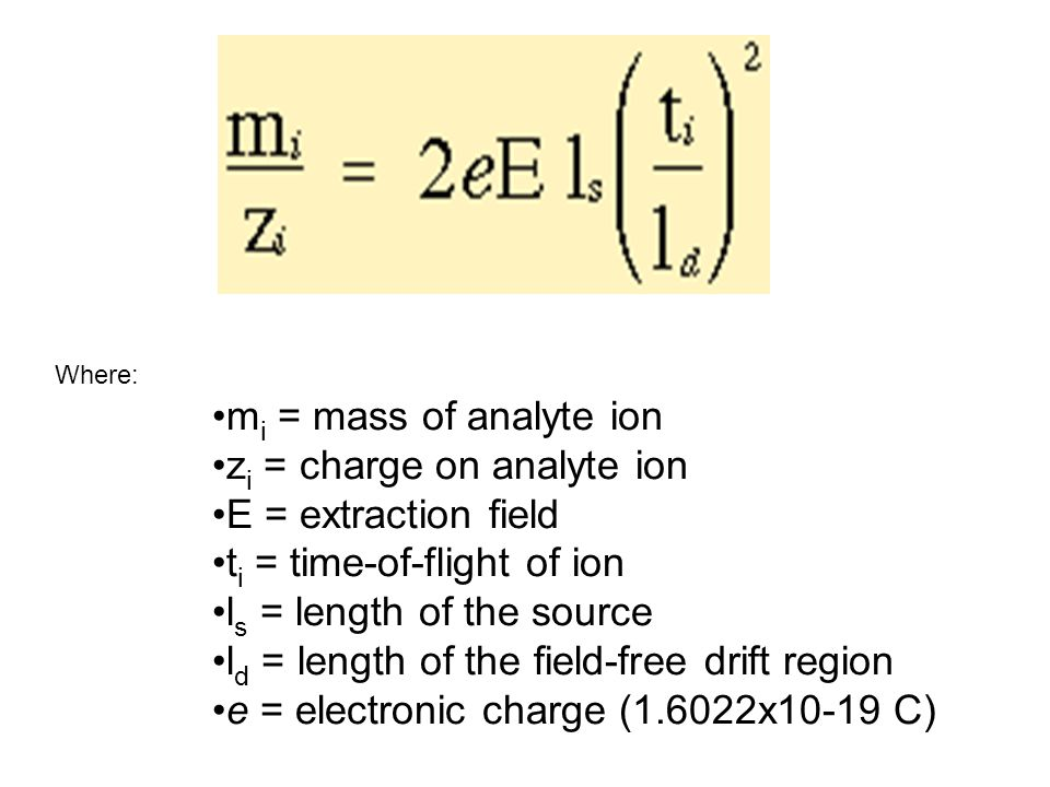 zi = charge on analyte ion E = extraction field
