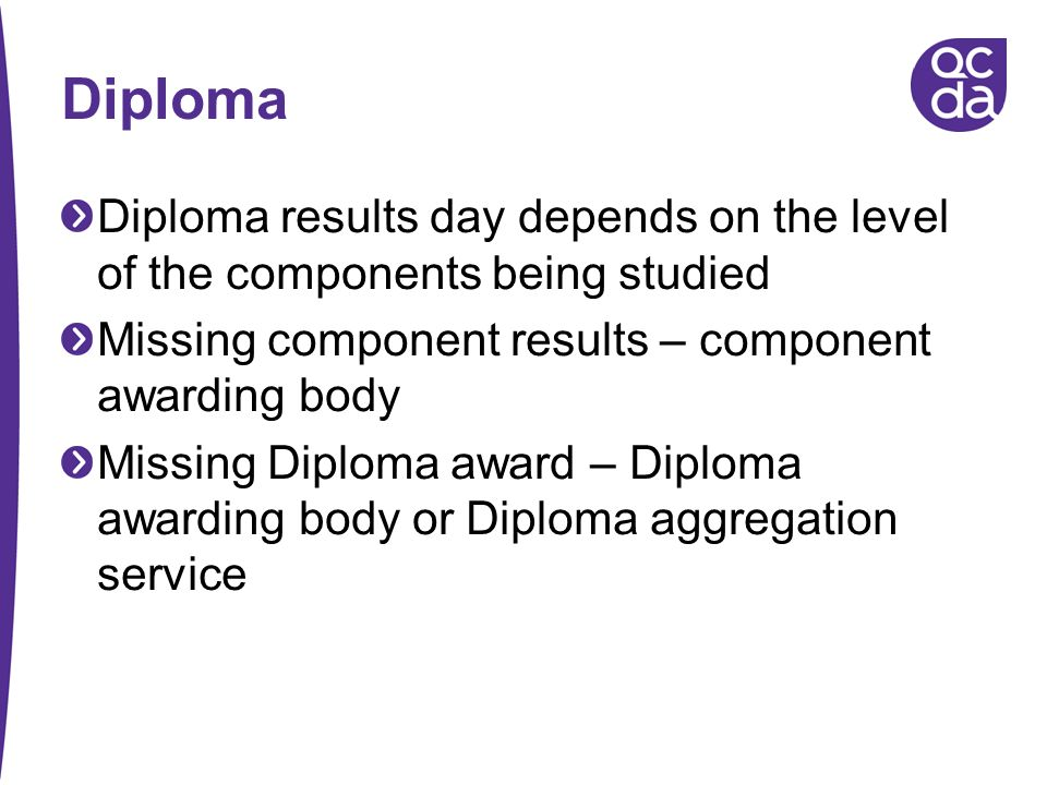 Diploma Diploma results day depends on the level of the components being studied. Missing component results – component awarding body.