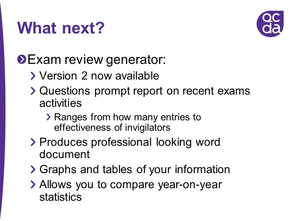 What next Exam review generator: Version 2 now available