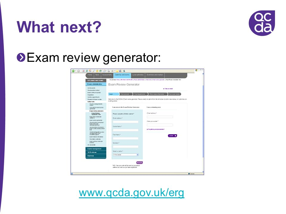What next Exam review generator: www.qcda.gov.uk/erg