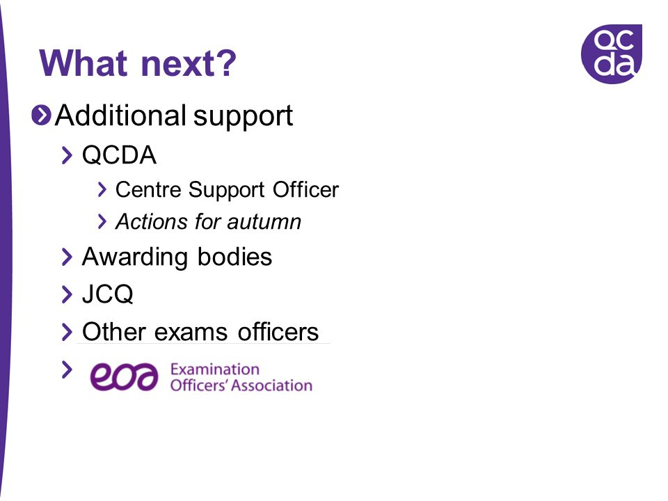 What next Additional support QCDA Awarding bodies JCQ