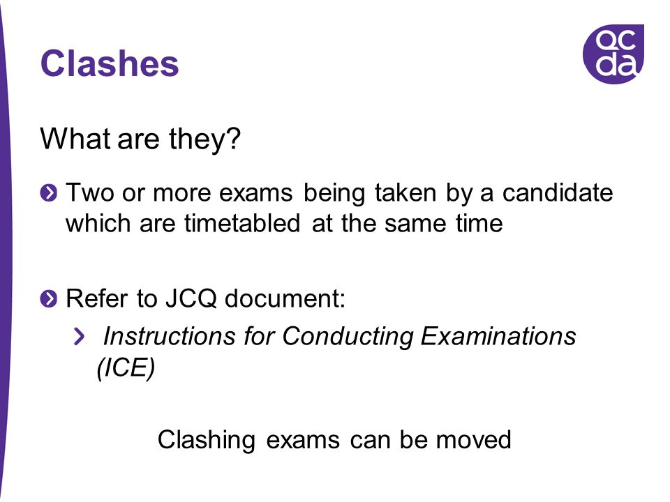 Clashing exams can be moved