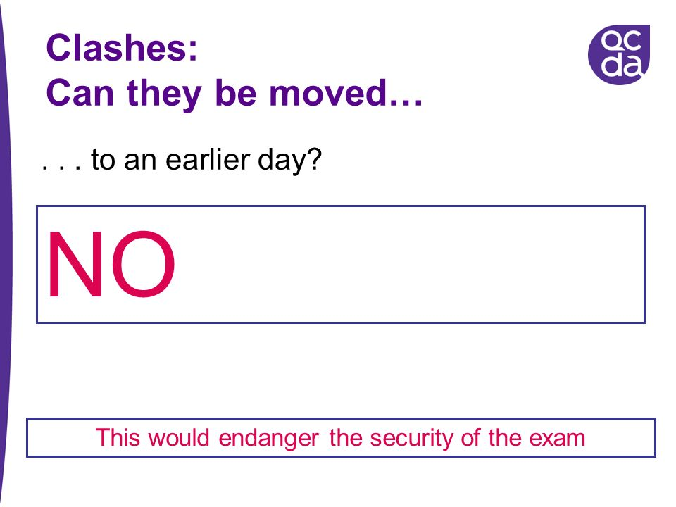 This would endanger the security of the exam