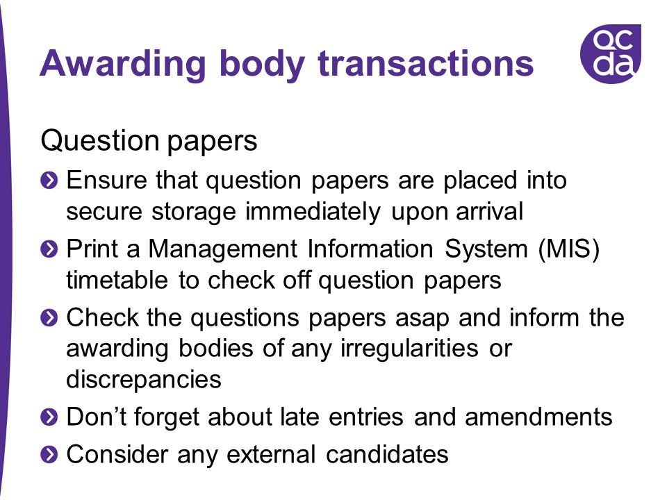 Awarding body transactions
