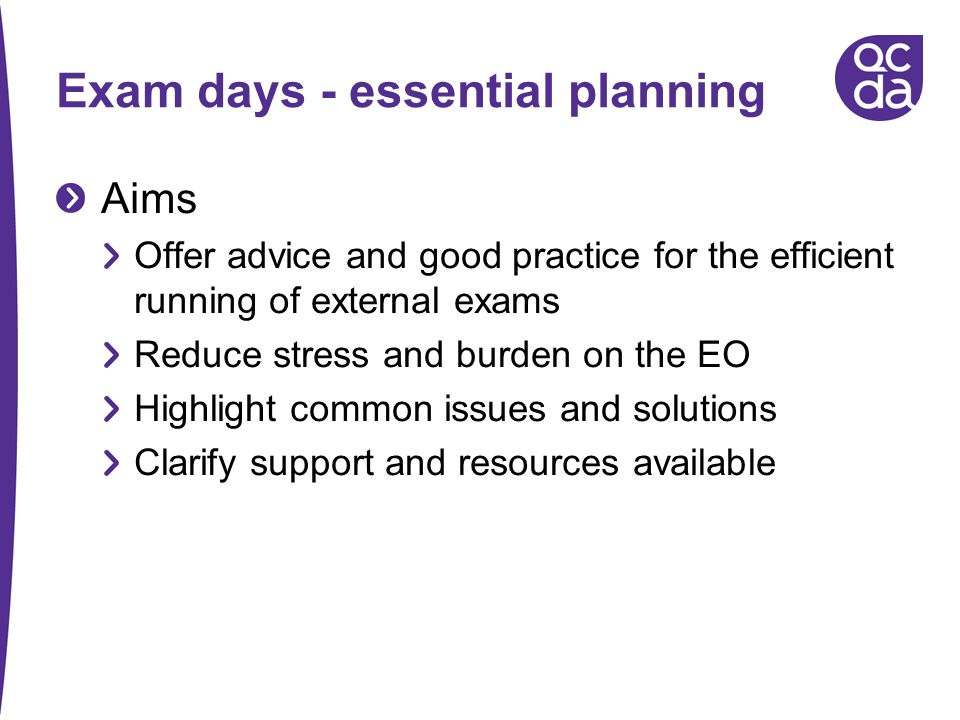 Exam days - essential planning