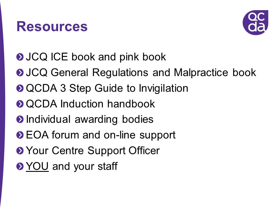 Resources JCQ ICE book and pink book