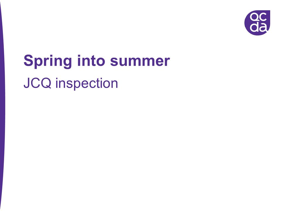 Spring into summer JCQ inspection Introduce self and role 58