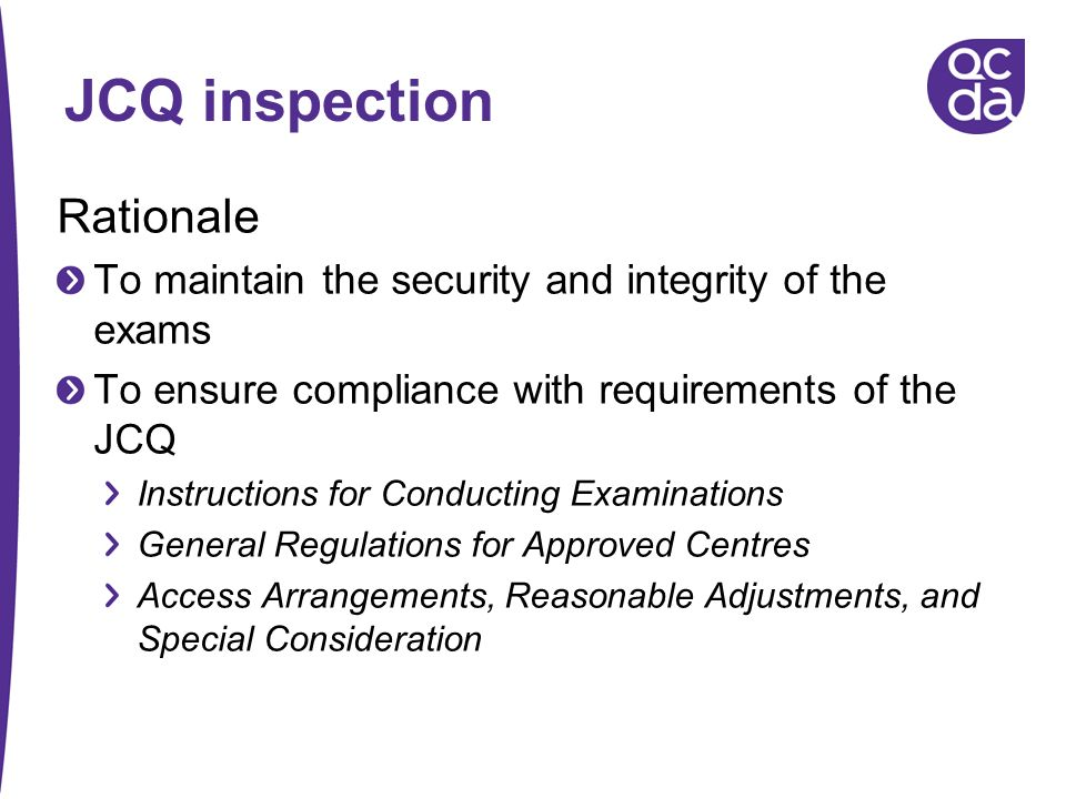 Jcq instructions for conducting coursework