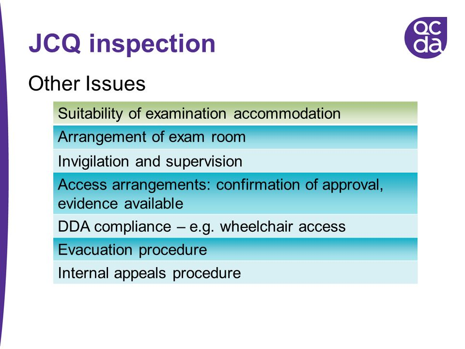 JCQ inspection Other Issues Suitability of examination accommodation