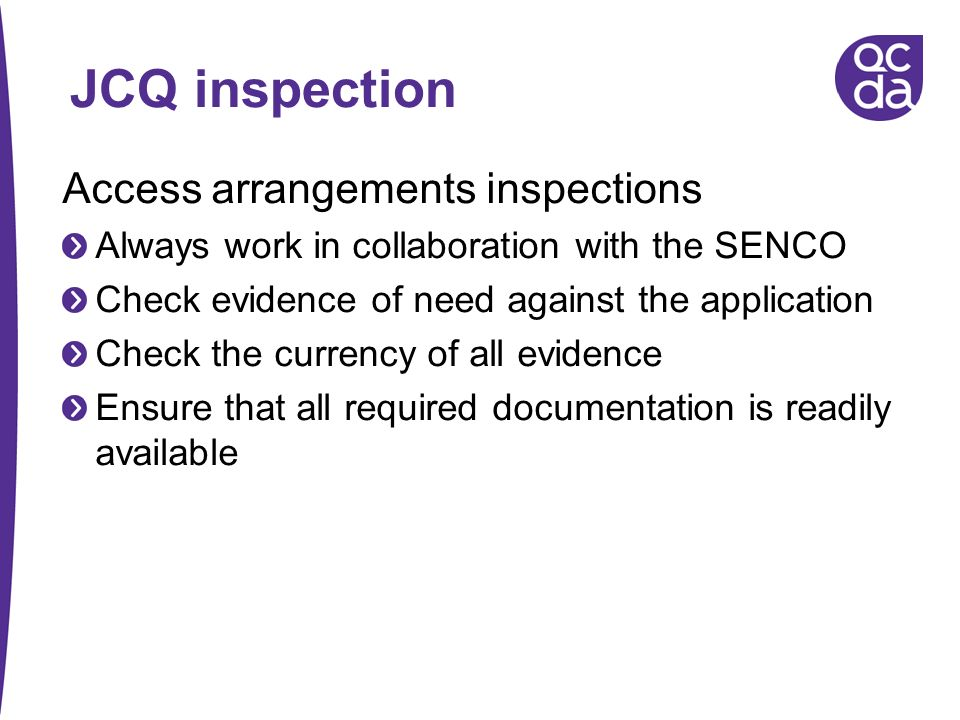 JCQ inspection Access arrangements inspections