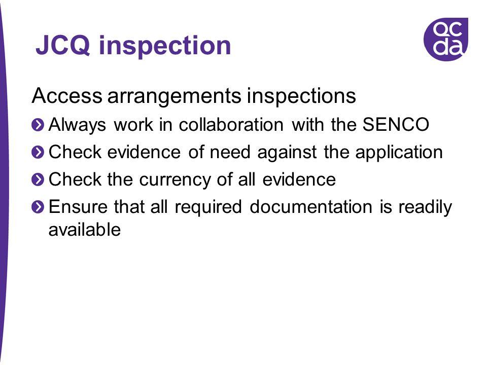 JCQ inspection Access arrangements inspections