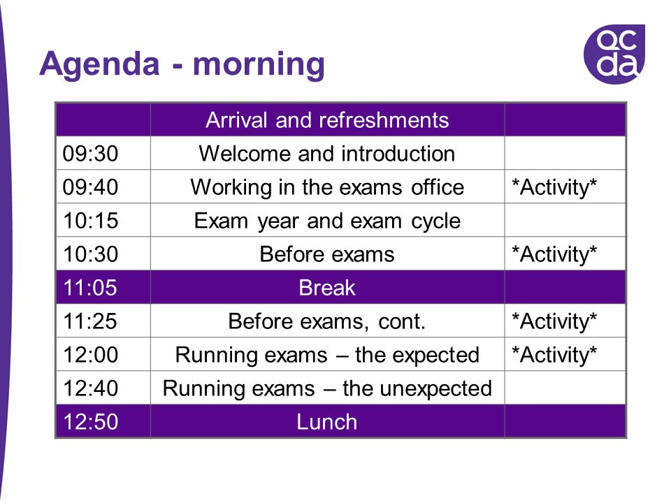 Agenda - morning Arrival and refreshments 09:30