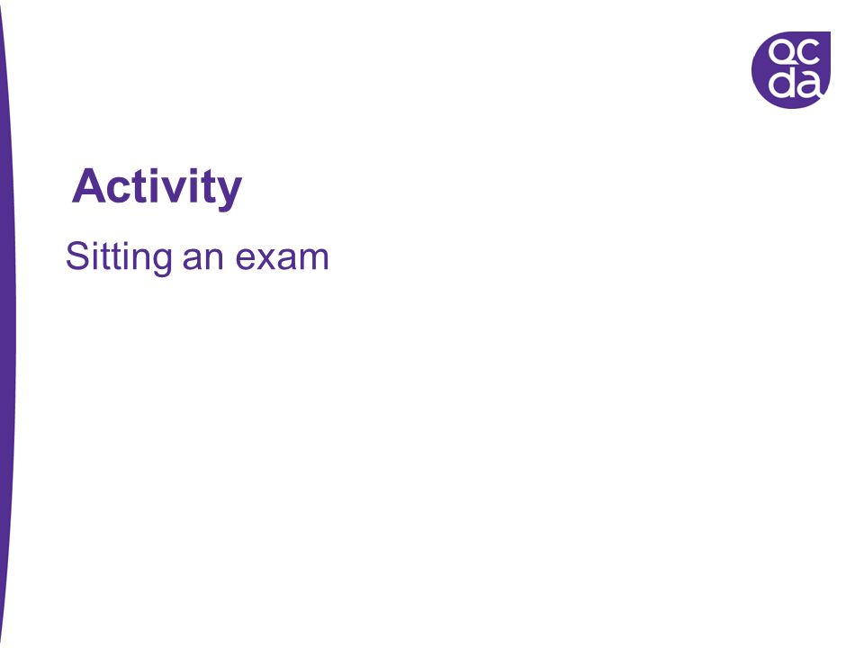 Activity Sitting an exam 72