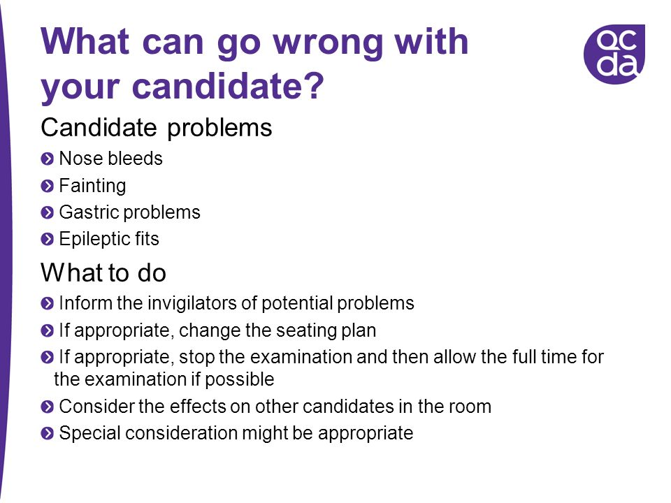 What can go wrong with your candidate