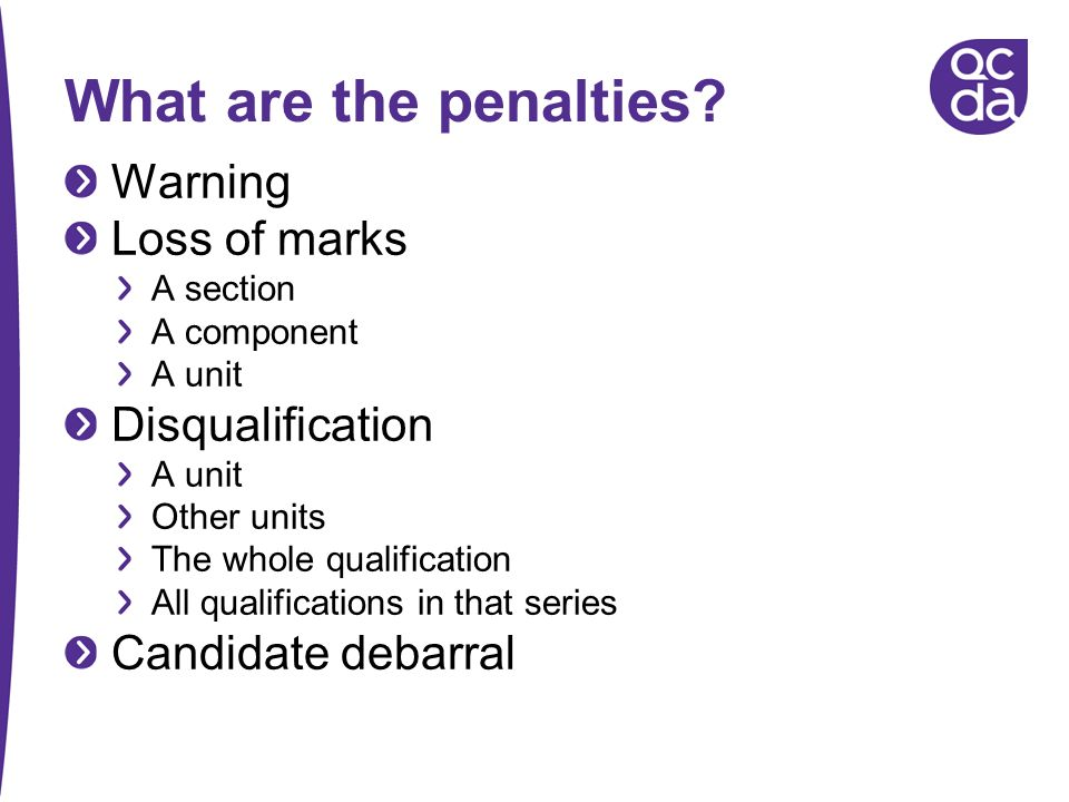 What are the penalties Warning Loss of marks Disqualification
