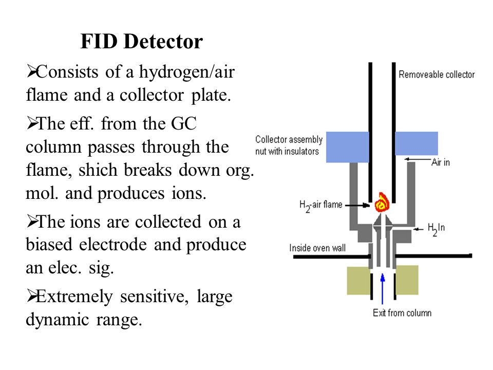 FID Detector Consists of a hydrogen/air flame and a collector plate.