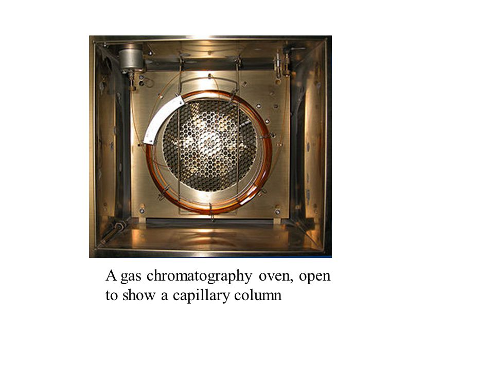 A gas chromatography oven, open to show a capillary column