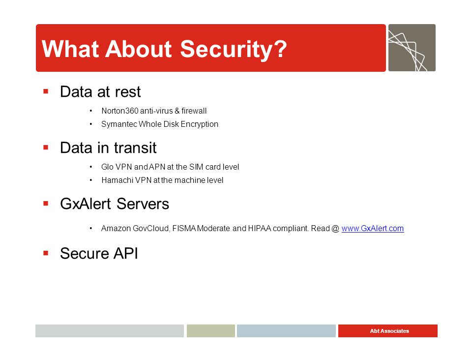 What About Security Data at rest Data in transit GxAlert Servers