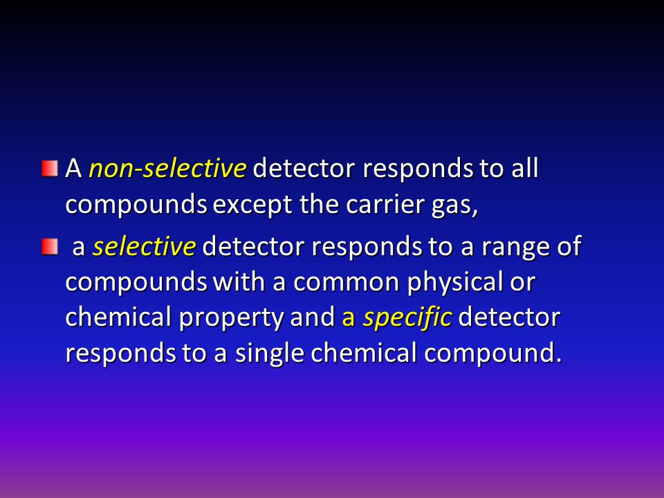 A non-selective detector responds to all compounds except the carrier gas,
