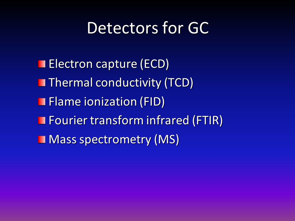 Detectors for GC Electron capture (ECD) Thermal conductivity (TCD)