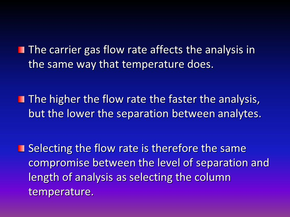 The carrier gas flow rate affects the analysis in the same way that temperature does.