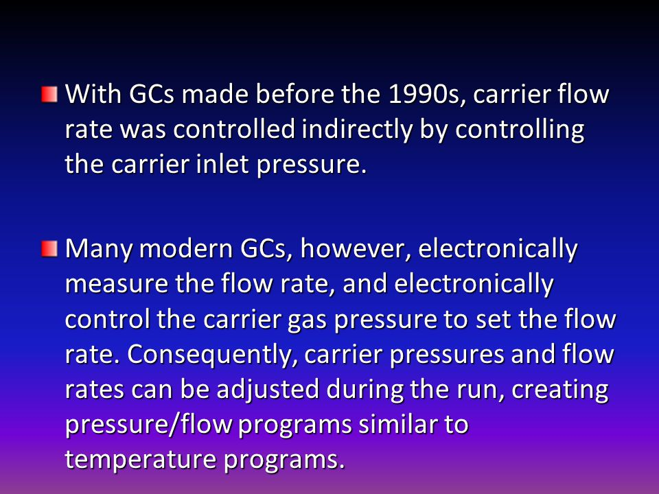 With GCs made before the 1990s, carrier flow rate was controlled indirectly by controlling the carrier inlet pressure.