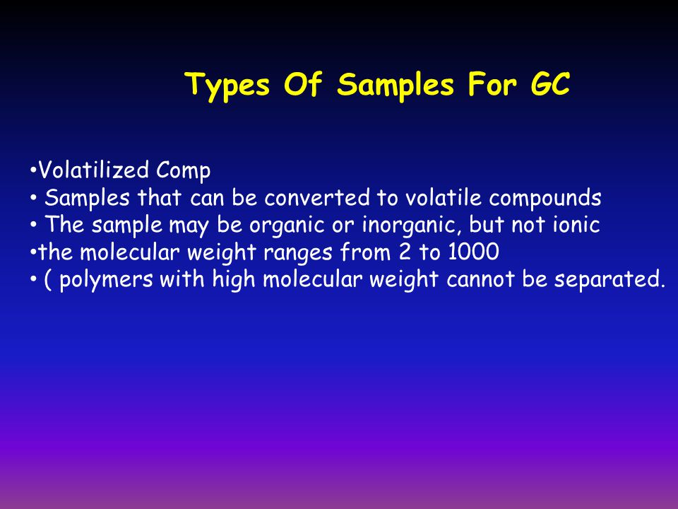 Types Of Samples For GC Volatilized Comp