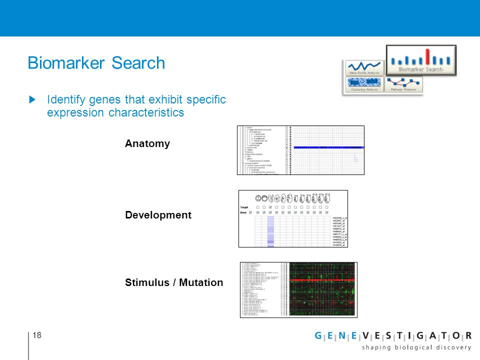 Biomarker Search Identify genes that exhibit specific expression characteristics. Anatomy. Development.