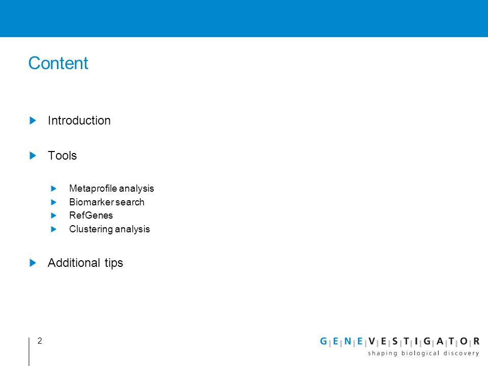 Content Introduction Tools Additional tips Metaprofile analysis
