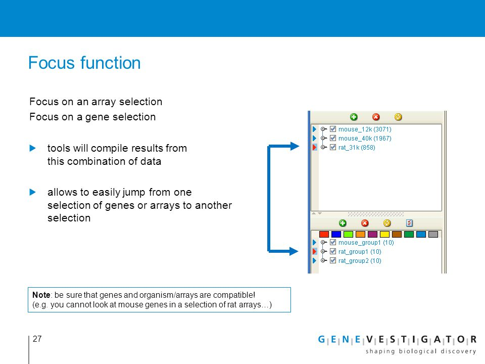 Focus function Focus on an array selection Focus on a gene selection